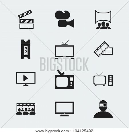 Set Of 12 Editable Movie Icons. Includes Symbols Such As Movie Reel, Hd Television, Coupon And More. Can Be Used For Web, Mobile, UI And Infographic Design.