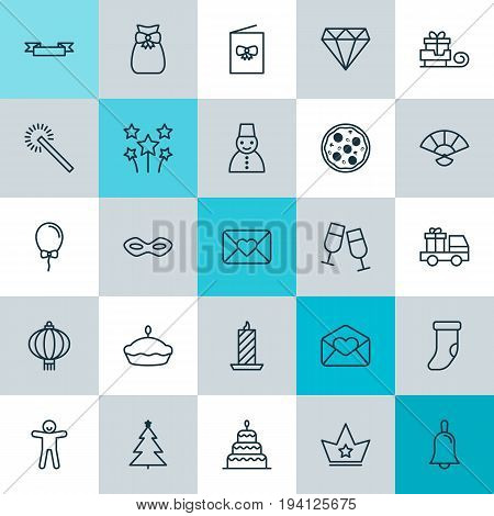 New Icons Set. Collection Of Snow Person, Sparkles, Placard And Other Elements. Also Includes Symbols Such As Princess, Hand, Crown.