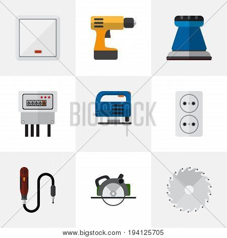 Set Of 9 Editable Instruments Icons. Includes Symbols Such As Emery Paper, Jig Saw, Circular And More. Can Be Used For Web, Mobile, UI And Infographic Design.