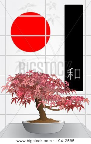 Japanese maple bonsai in front of a windows with red sun and black flag with ideogram of peace