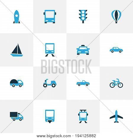 Shipment Colorful Icons Set. Collection Of Missile, Scooter, Caravan And Other Elements. Also Includes Symbols Such As Rocket, Ship, Light.