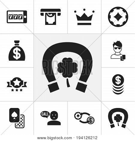 Set Of 12 Editable Gambling Icons. Includes Symbols Such As Clubs, Badge, Swap And More. Can Be Used For Web, Mobile, UI And Infographic Design.