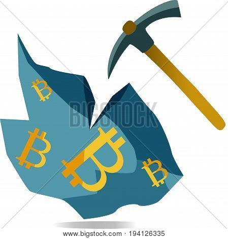 Mining bitcoin virtual cryptocurrency from rock with pickaxe.