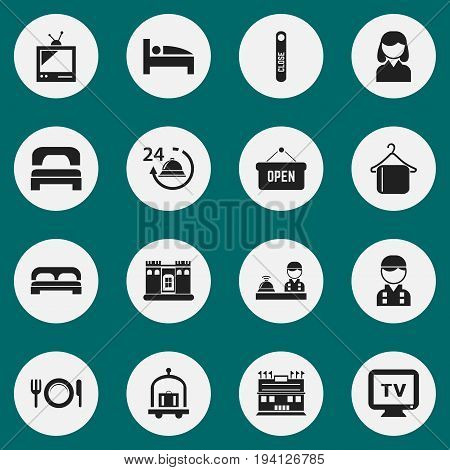 Set Of 16 Editable Motel Icons. Includes Symbols Such As Tv, Trolley, Sleeping And More. Can Be Used For Web, Mobile, UI And Infographic Design.
