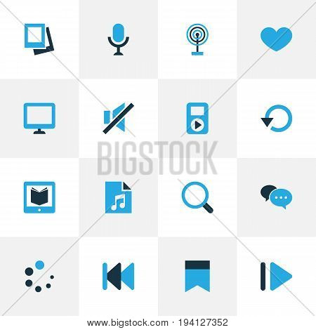 Media Colorful Icons Set. Collection Of Chatting, Magnifier, Rewind And Other Elements. Also Includes Symbols Such As Instrument, Audio, Display.