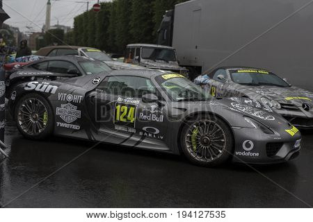 Riga, Latvia - July 01, 2017: Porsche 918 Spyder 2015 from Gumball 3000 race is on display. Riga host Gumball 3000 during the 2017 Rally being both the starting grid and flag drop destination.
