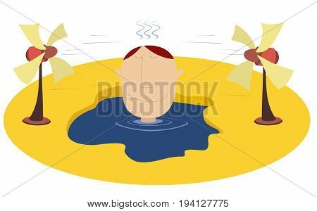 Broiling weather and man. Man trying to escape from the heat in the water and using a fan