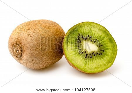 Ripe kiwi on white a background, isolated
