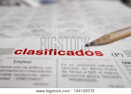 A Spanish language newspaper classified employment section