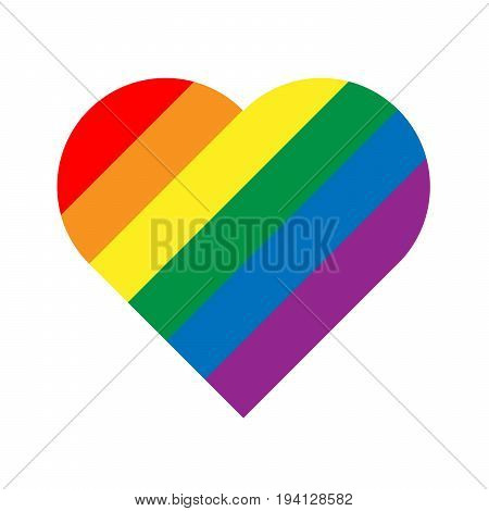 LGBT rainbow pride flag in a shape of heart. Lesbian, gay, bisexual, and transgender stylish design element. Simple flat vector illustration.