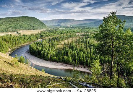 Beautiful view above oka river, russian nature. Buryatia. Siberia