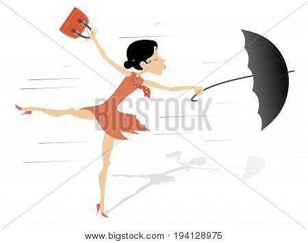 Windy weather, young woman and umbrella isolated. Pretty young woman in the red dress and shoes with a handbag and an umbrella is standing on the wind