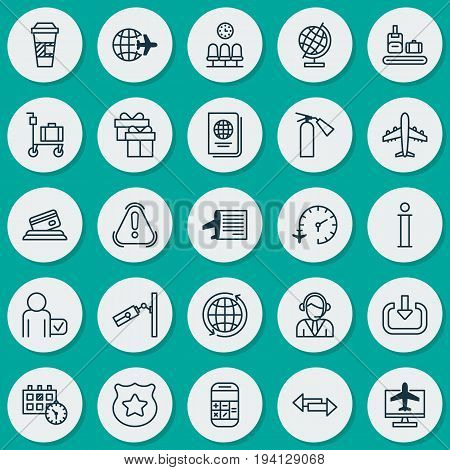 Travel Icons Set. Collection Of World, Globetrotter, Travel Clock And Other Elements. Also Includes Symbols Such As Payment, Surveillance, Police.