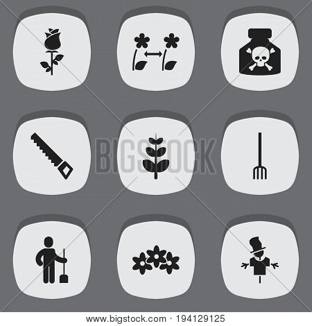 Set Of 9 Editable Planting Icons. Includes Symbols Such As Floral, Digger Human, Breeding And More. Can Be Used For Web, Mobile, UI And Infographic Design.