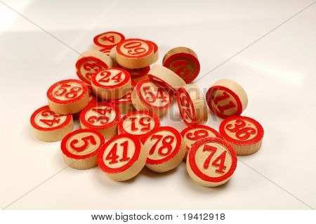 Wooden numbers, random choice. Lucky concept