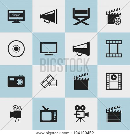 Set Of 16 Editable Movie Icons. Includes Symbols Such As Play Video, Monitor, Loudspeaker And More. Can Be Used For Web, Mobile, UI And Infographic Design.