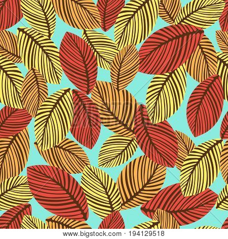 Abstract autumn leaves seamless pattern, vector background. Hand-drawn leaves on a blue background. For fabric design, wallpaper, wrappers, decorating