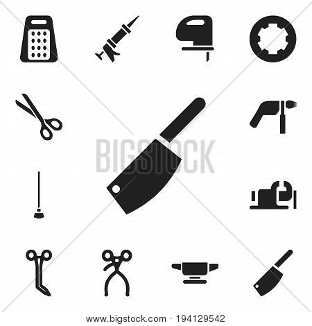 Set Of 12 Editable Apparatus Icons. Includes Symbols Such As Saw, Equipment, Sealant And More. Can Be Used For Web, Mobile, UI And Infographic Design.