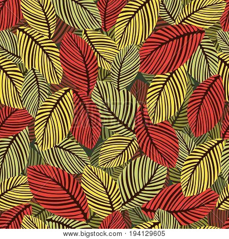 Abstract autumn leaves seamless pattern, vector background. Hand-drawn leaves on a green background. For fabric design, wallpaper, wrappers, decorating