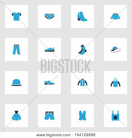 Clothes Colorful Icons Set. Collection Of Sweatshirt, Man Footwear, Evening Gown And Other Elements. Also Includes Symbols Such As Underwear, Panties, Blouse.