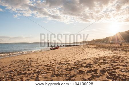 Bournemouth beach in Dorset, England in the summertime.