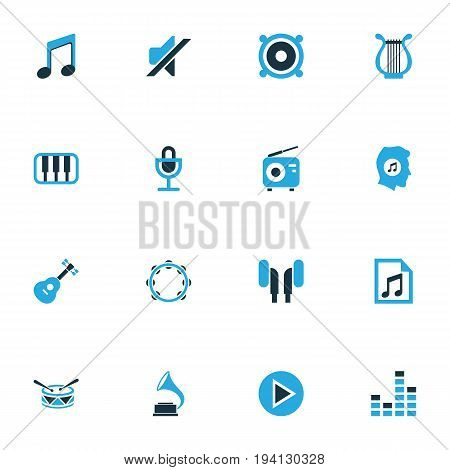 Multimedia Colorful Icons Set. Collection Of Play, Music Lover, Harp And Other Elements. Also Includes Symbols Such As Percussion, Drum, Radio.