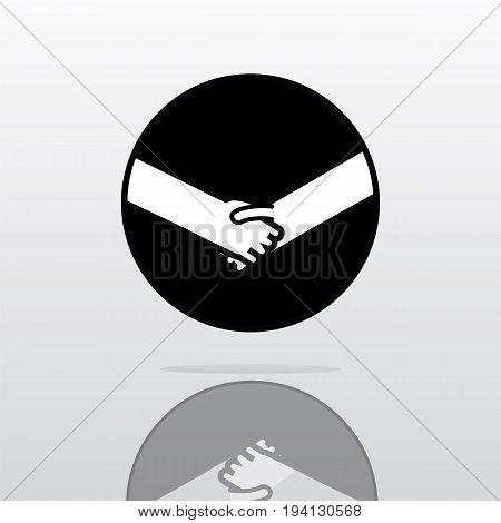 Shaking hands logo simple design vector illustration symbol of deal happy trade greeting shake casual handshaking agreement.