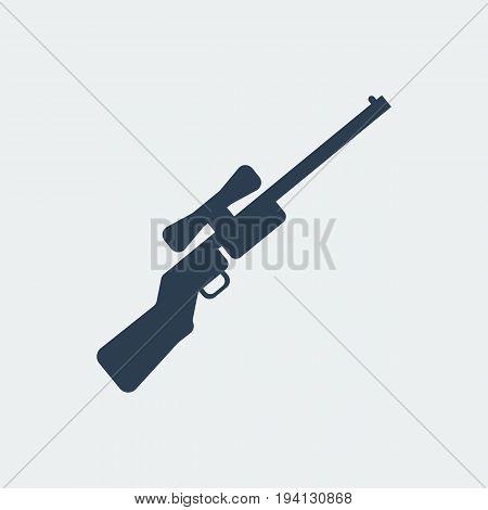 Rifle icon. Flat design silhouette vector illustration