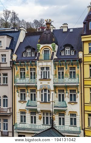 Art Nouveau building of hotel in Karlovy vary Czech republic