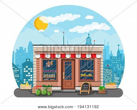 Daily products shop. Local fruit and vegetables store building. Groceries crates in front of storefront. Cityscape, clouds, sun. Vector illustration in flat style