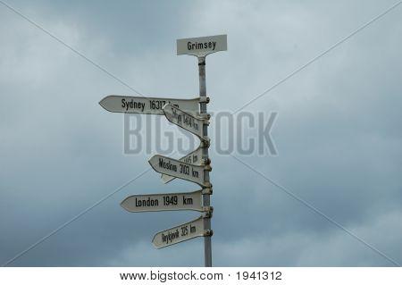 Signpost, Grimsey, Iceland