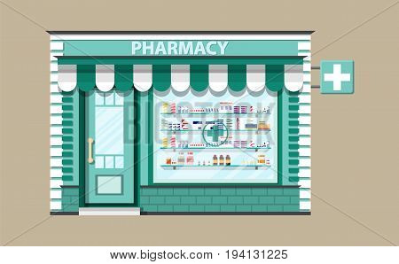 Modern exterior pharmacy or drugstore. Medicine pills capsules bottles vitamins and tablets. vector illustration in flat style