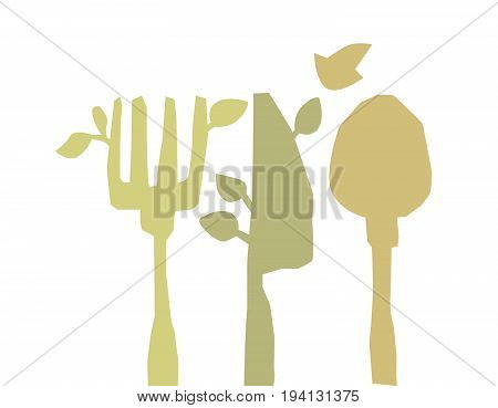 eco style concept tableware tree  vector illustration