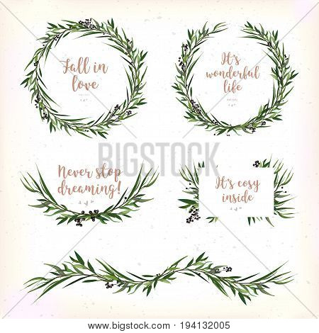 Eucalyptus Leaves circle round Green leaf Wreath berry branch beautiful lovely evergreen winter garaland various set elegant watercolor Vector element illustration copy space Christmas greeting card