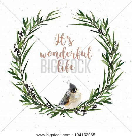 Eucalyptus Leaves circle round green leaf wreath of branch Privet berries with sitting bird winter beautiful lovely elegant watercolor lovely vector illustration