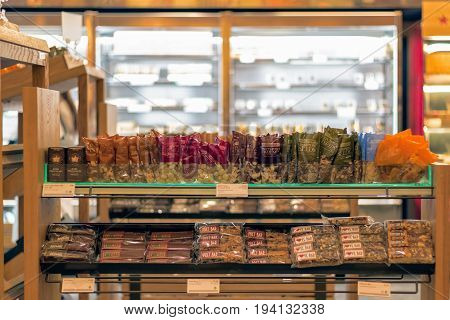Nuts And Energy Bars Displayed On Shelves In Pret A Manger