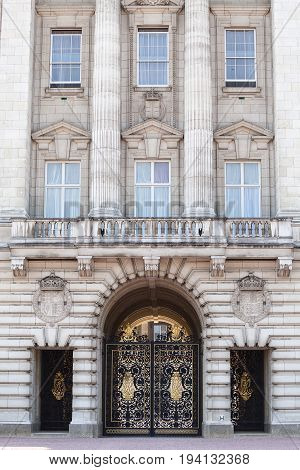 Buckingham Palace facade with famous balcony London United Kingdom. Palace is the London residence and administrative headquarters of the reigning monarch of the United Kingdom