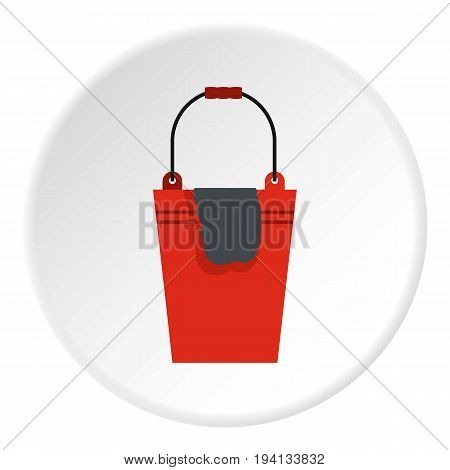 Bucket with a rag icon in flat circle isolated vector illustration for web