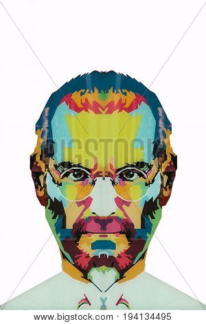 Christmas Island, Australia, May 20, 2018: an illustration in the art style in the form of a mosaic Steve Jobs - a talented person and the founder of the international corporation Apple . Iphone, Ipad