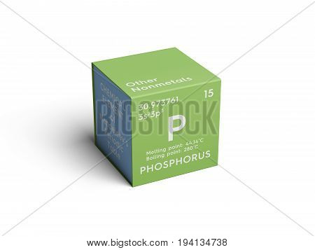 Phosphorus. Other Nonmetals. Chemical Element of Mendeleev's Periodic Table. Phosphorus in square cube creative concept.