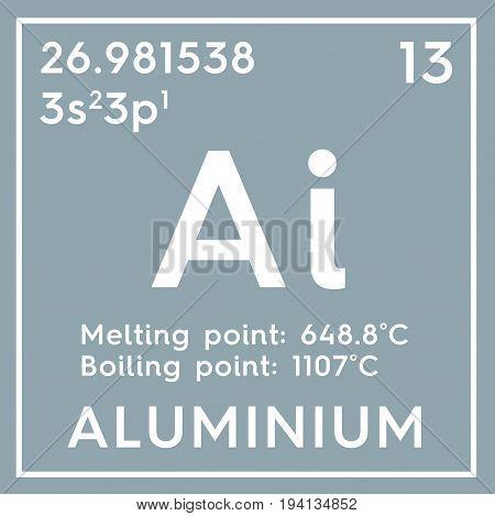 Aluminium. Post-transition metals. Chemical Element of Mendeleev's Periodic Table. Aluminium in square cube creative concept.