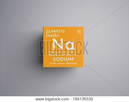 Sodium. Natrium. Alkali metals. Chemical Element of Mendeleev's Periodic Table. Sodium in square cube creative concept.