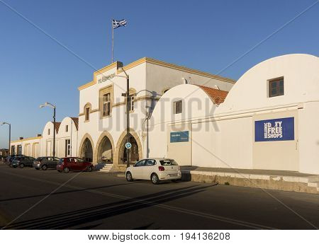 RHODES, GREECE, FEBRUARY 16TH 2017 - Duty free building at Rhodes harbour terminal Greece
