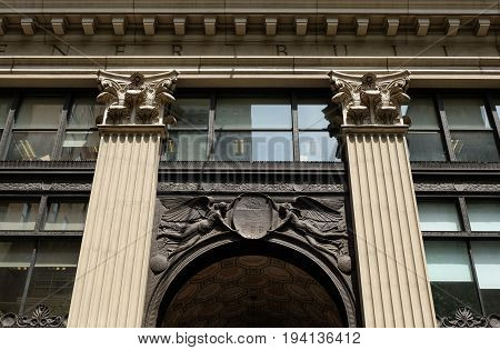 PHILADELPHIA, UNITED STATES - APRIL 25, 2016: Facade detail of Widener Building on South Penn Square, Philadelphia, Pennsylvania, USA