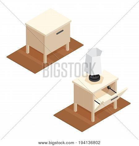 Isometric nightstand with night light illustration. Closed and open bedside table. 3d vector furniture icons