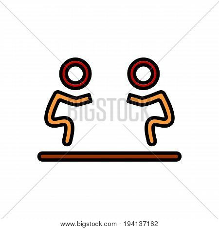 Fight icon isolated. Human silhouettes fighting on white background. Flat signEps 10