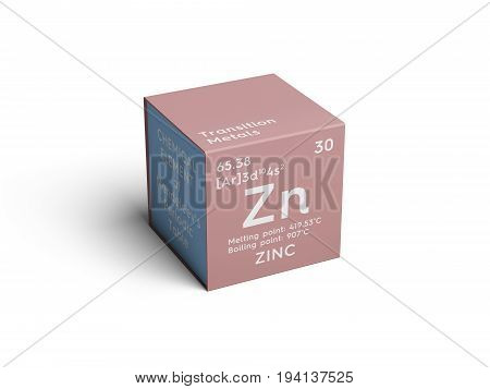 Zinc. Transition metals. Chemical Element of Mendeleev's Periodic Table. Zinc in square cube creative concept.