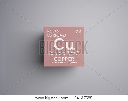 Copper. Cuprum. Transition metals. Chemical Element of Mendeleev's Periodic Table. Copper in square cube creative concept.