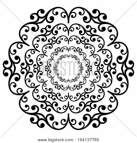 Oriental black and white round pattern with arabesques and floral elements. Traditional classic ornament. Vintage pattern with arabesques