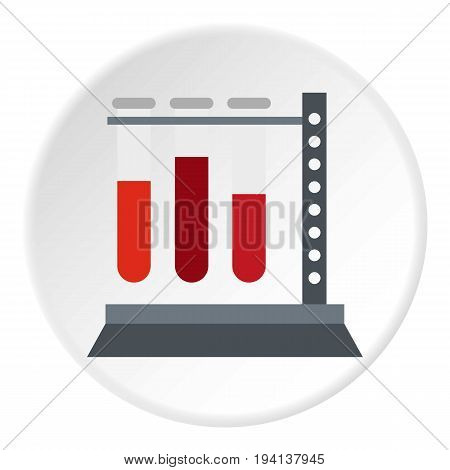 Vial for blood collection icon in flat circle isolated vector illustration for web